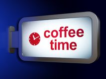 Time concept: Coffee Time and Clock on billboard background Stock Images