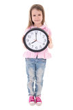 Time concept - cute little girl holding office clock isolated on Royalty Free Stock Photography
