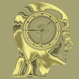 Time Concept 3D Illustration. Human Head  and Time, Business Punctuality, Appointment Stress, Deadline Pressure, Overtime, Time is Running Up, Timing, Punctual Stock Photos