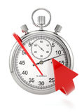 Time concept. 3d render of stopwatch with red arrow. Time concept Royalty Free Stock Photography