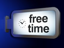 Time concept: Free Time and Clock on billboard background. Time concept: Free Time and Clock on advertising billboard background, 3D rendering Royalty Free Stock Photo
