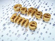 Time concept: Golden Coffee Time on digital Royalty Free Stock Photo