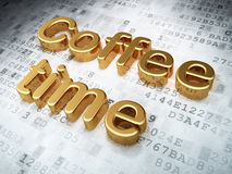 Time concept: Golden Coffee Time on digital background Royalty Free Stock Photos