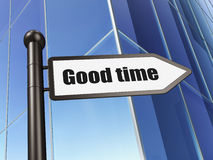 Time concept: Good Time on Building background. 3d render Stock Photos