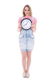 Time concept - happy teenage girl with office clock isolated on Stock Images