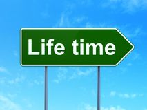 Time concept: Life Time on road sign background. Time concept: Life Time on green road highway sign, clear blue sky background, 3D rendering Stock Photo