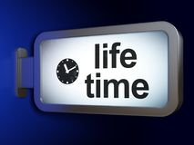 Time concept: Life Time and Clock on billboard background. Time concept: Life Time and Clock on advertising billboard background, 3D rendering Stock Photo