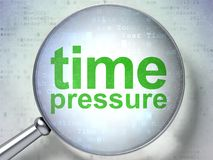 Time concept: Time Pressure with optical glass. Time concept: magnifying optical glass with words Time Pressure on digital background, 3D rendering Royalty Free Stock Image