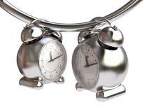Time Concept With Metallic Alarm-Clocks Royalty Free Stock Photos