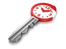 Time concept metallic key with round arrow and dial clock face Royalty Free Stock Photo