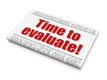 Time concept: newspaper headline Time to Evaluate!. On White background, 3D rendering Stock Photo