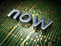 Time concept: Now on circuit board background. Time concept: circuit board with word Now, 3d render Stock Photo