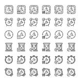 36 Time concept outline icon set. Icon for web and UI  design. Modern minimalistic style. 64x64 Pixel perfect thin line icons design. vector illustration Royalty Free Stock Images