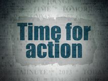 Time concept: Time for Action on Digital Data Paper background Stock Photo