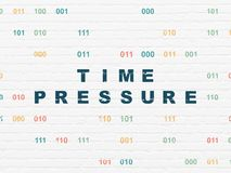 Time concept: Time Pressure on wall background. Time concept: Painted blue text Time Pressure on White Brick wall background with Binary Code Stock Image