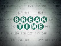 Time concept: Break Time on Digital Data Paper background Royalty Free Stock Photography
