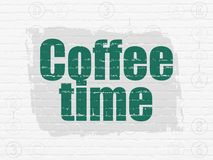 Time concept: Coffee Time on wall background. Time concept: Painted green text Coffee Time on White Brick wall background with Scheme Of Hexadecimal Code Royalty Free Stock Photography