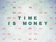 Time concept: Time Is money on Digital Data Paper background Stock Images