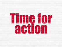 Time concept: Time for Action on wall background Stock Photography