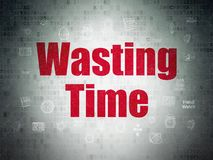 Time concept: Wasting Time on Digital Data Paper background. Time concept: Painted red text Wasting Time on Digital Data Paper background with  Hand Drawing Time Royalty Free Stock Photo