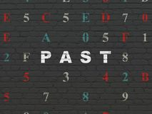 Time concept: Past on wall background. Time concept: Painted white text Past on Black Brick wall background with Hexadecimal Code Royalty Free Stock Image