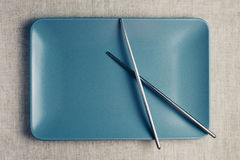 Time Concept with plate and metal  chopsticks Stock Photos