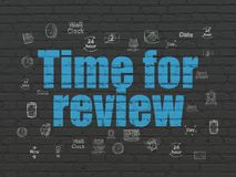 Time concept: Time for Review on wall background Stock Image