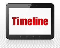 Time concept: Tablet Pc Computer with Timeline on display Stock Images