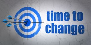 Time concept: target and Time to Change on wall background. Success time concept: arrows hitting the center of target, Blue Time to Change on wall background, 3D Stock Image