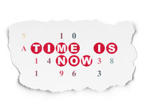 Time concept: Time is Now on Torn Paper background. Time concept: Painted red text Time is Now on Torn Paper background with  Hexadecimal Code, 3d render Stock Photo