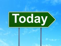 Time concept: Today on road sign background. Time concept: Today on green road highway sign, clear blue sky background, 3D rendering Royalty Free Stock Image
