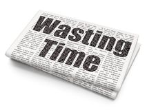 Time concept: Wasting Time on Newspaper background. Time concept: Pixelated black text Wasting Time on Newspaper background, 3D rendering Royalty Free Stock Image
