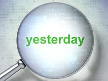 Time concept: Yesterday with optical glass. Time concept: magnifying optical glass with words Yesterday on digital background, 3D rendering Stock Image