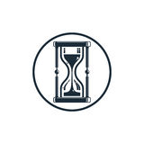 Time conceptual stylized icon. Old-fashioned hourglass isolated. On white, stylish clock pictogram Royalty Free Stock Image