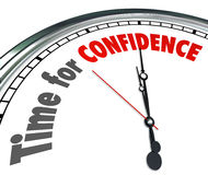 Time for Confidence Clock Words Good Positive Can Do Attitude. The words Time for Coaching on a clock to illustrate the need to learn or be trained by a role Stock Photos