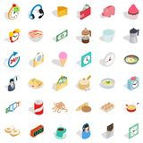 Time cooking icons set, isometric style. Time cooking icons set. Isometric style of 36 time cooking vector icons for web isolated on white background Stock Image