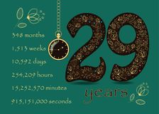 Time counting card. Number 29 and Pocket Watch Royalty Free Stock Photo