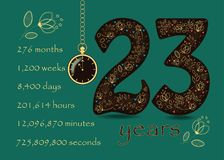 Time counting card. Number 23 and Pocket Watch Royalty Free Stock Image