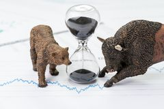 Time counting down to choose between investment bear and bull st. Ock market concept, hourglass or sandglass on chart and graph, price list report paper surround royalty free stock photography