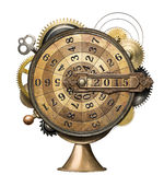 Time counting. Stylized steampunk metal collage of time counting device. New Year concept stock photo