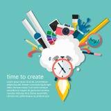 Time of creative ideas. Big idea, startup, innovation concept, vector illustration. Big idea, startup.Deadline.Watch the rocket Stock Photography