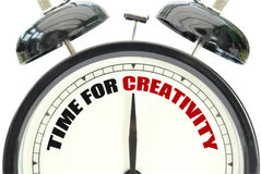 Time for creativity. Text printed on a clock face Stock Images