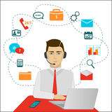 Time 24 customer support center operator. Vector Stock Image