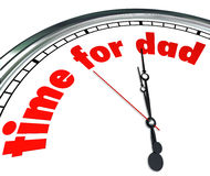 Time for Dad Clock Fatherhood Father's Day Appreciation. The words Time for Dad on a clock face to illustrate Father's Day or a special date or holiday to Stock Images