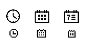 Time and date icons Stock Image