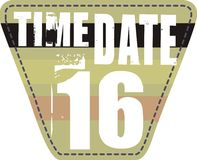 Time date patch. 16 figures and text on the arms of the T-shirt graphic design Royalty Free Stock Image