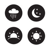 Time of day black silhouette icons Stock Photography
