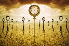 Time after death concept. Clock with no hands stock image
