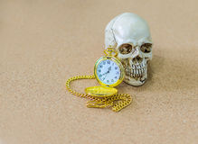 Time, death, skull, clock, end. Royalty Free Stock Photos