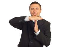 time den göra en gest mannen för affären ut Fotografering för Bildbyråer